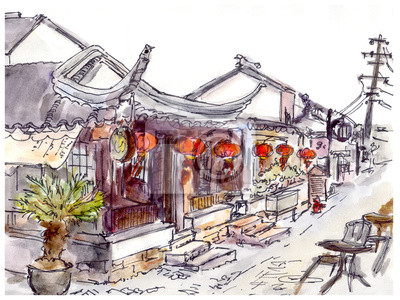 Akwarela malowane chińskie stare miasto, kawiarnia i czerwone latarnie
