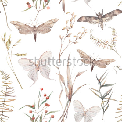 Naklejka Akwarela motyl i lato pole wzór ziół. Ręcznie malowane tekstury z elementami botanicznymi: rośliny, trawa, jagody, paproć, liście. Naturalne powtarzające się tło