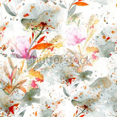 Naklejka akwarela naiwna - nalewanie i chlapanie. motywy kwiatowe. ręcznie malowany wzór. tło dla wystroju i projektowania tekstyliów. tapeta botaniczna. boho chic sztuka kwiatowy ramki