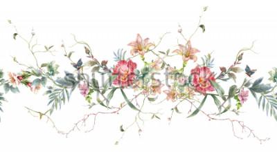 Naklejka Akwarela obraz liść i kwiaty, wzór na białym tle