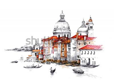 Naklejka Akwarela pejzaż miejski z domami ilustracyjnymi