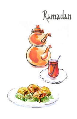 Naklejka Akwarela Ramadan i turecki herbaty z tureckim baklava