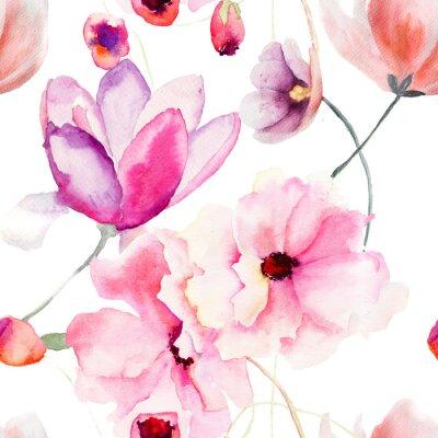 Naklejka Akwarela szwu z różowe kwiaty