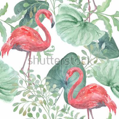 Naklejka Akwarela tropikalny wzór z tropikalnych liści, ptaki Flamingo na białym tle.