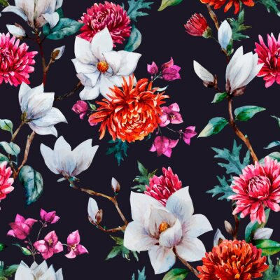 Naklejka Akwarela wektor kwiatowy wzór
