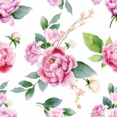Naklejka Akwarela wektor ręcznie obraz bez szwu wzór kwiatów piwonii i zielonych liści.