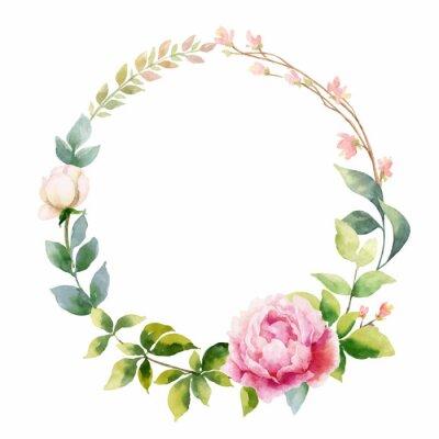 Naklejka Akwarela wektor ręcznie obraz wieniec kwiatów piwonii i zielonych liści.