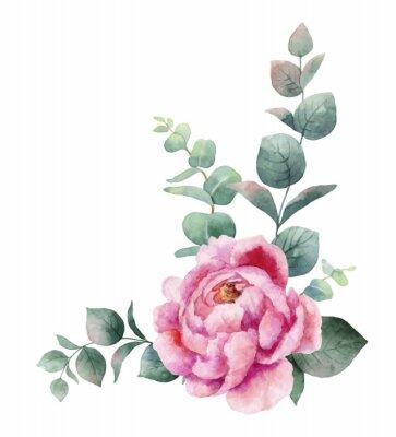 Naklejka Akwarela wektor wieniec z zielonych liści eukaliptusa, kwiaty piwonii i oddziałów.