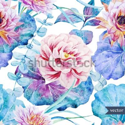 Naklejka akwarela wektor wzór z tropikalnych roślin i kwiatów piwonie