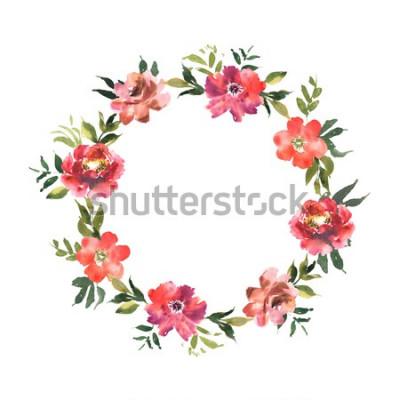 Naklejka Akwarela wieniec z kwiatami i liśćmi w okręgu. Kolorowy kwiatowy ornament na zaproszenia i karty projektu. Ilustracja z ręcznie rysowane roślin.