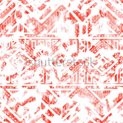 Naklejka Akwarela wzór. Motywy etniczne i plemienne. Kolor żywy koral i biały. Ilustracji wektorowych.