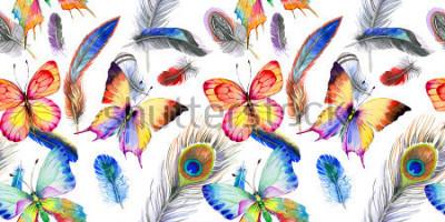 Naklejka Akwarela wzór pióro ptak od skrzydeł. Aquarelle kwiat na tle, tekstury, opakowania wzór, rama lub granica.