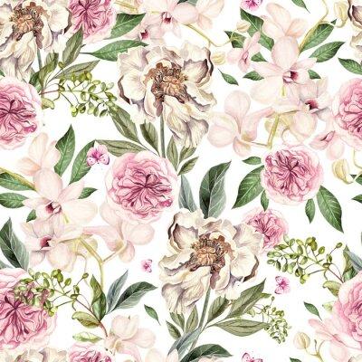Naklejka Akwarela wzór z kwiatami piwonii i storczyki.