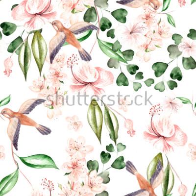 Naklejka Akwarela wzór z wiosennych kwiatów, liści eukaliptusa i ptaków. Ilustracja