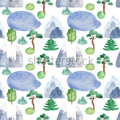 Naklejka Akwarela wzoru wzór z góry, drzewa, jezioro. Tekstura na plaży, tapety, scrapbooking, tkaniny, test.