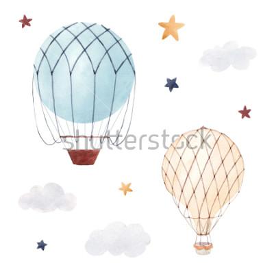Naklejka Akwarela zestaw ilustracji dzieci na białym tle, balon, gwiaździste niebo i chmury. Urodziny dla dzieci