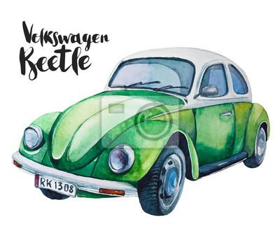 Naklejka Akwarele ilustracji wektorowych zielony samochód retro. Beetle projekt