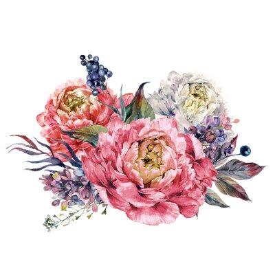 Naklejka Akwarele Pink Peonies i Lilac Bouquet