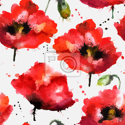 Akwarele ręcznie rysowane kwiaty maku wektora tekstury
