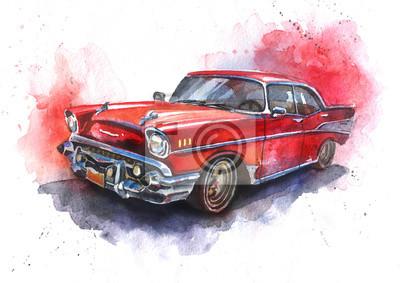 Naklejka Akwarele ręcznie rysowane staromodny czerwony samochód