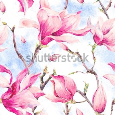 Naklejka Akwareli kwiecistej wiosny Bezszwowy wzór, roczników kwiatów bukiet, magnolia, gałązki i liście, botaniczna akwareli ilustracja na nieba tle