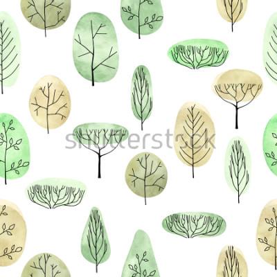 Naklejka Akwareli wyboru drzewnego wzoru wzoru na białym tle