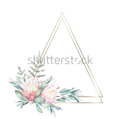 Naklejka Akwareli zieleni geometryczna rama z kwiatem, eukaliptusem i paprocią ,. Ręcznie rysowane ilustracji