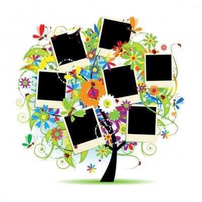 Naklejka Album rodzinny. Floral drzewa z ramki do zdjęć.
