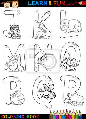 Naklejka alfabet cartoon ze zwierz tami do kolorowania na - Cartone animato animali da colorare pagine ...