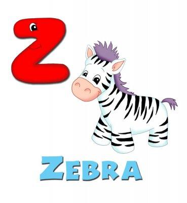 Naklejka alfabeto, zebra