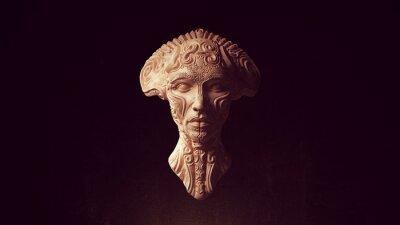 Naklejka Alien Head Queen Statue Ancient Face Art Sculpture 3d illustration render