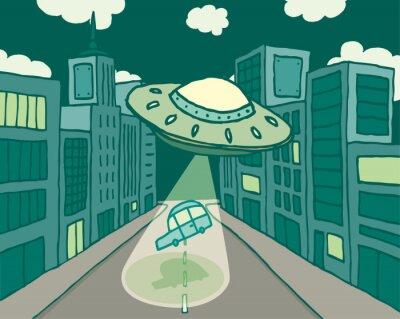 Naklejka Alien statek kosmiczny lub UFO porywa samochód w mieście