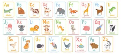 Naklejka Alphabet cards for kids. Educational preschool learning ABC card with animal and letter cartoon vector illustration set. Flashcards with cute characters and english words placed in alphabetical order.