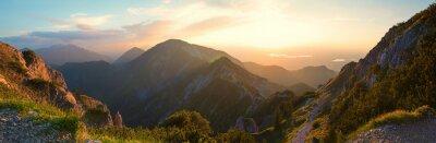 Naklejka alpine landscape panorama in the evening, herzogstand mountain