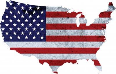 Naklejka America with Flag Texture