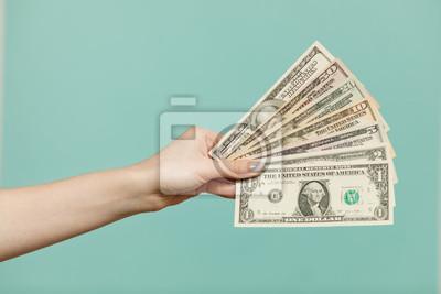 Naklejka American Dollars Cash Money. 100 dollars banknotes in the background.