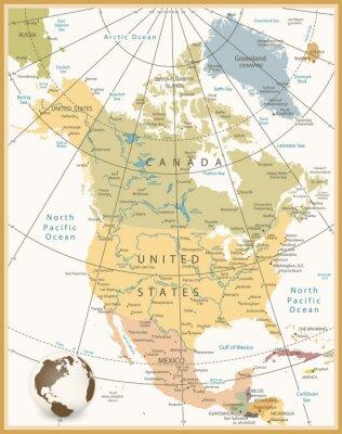 Naklejka Ameryka Północna Szczegółowa mapa kolorach retro