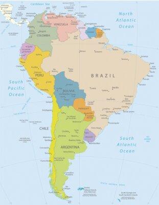 Naklejka Ameryka Południowa-bardzo szczegółowe map.Layers używane.