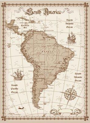 Naklejka Ameryka Południowa mapa wektorowa
