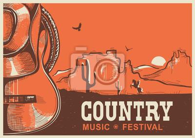 Naklejka Amerykański plakat muzyki country z kowbojski kapelusz i gitary