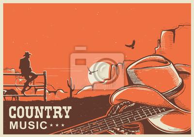 Naklejka Amerykański plakat muzyki country z kowbojski kapelusz i gitary na ziemi
