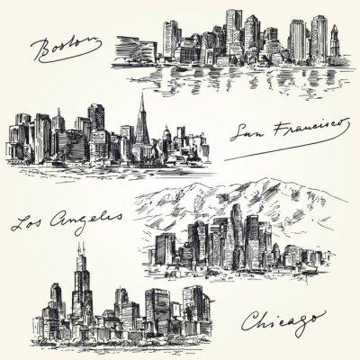 Naklejka amerykańskich miast skylines - ręcznie rysowane zestaw