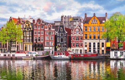 Naklejka Amsterdam Holandia taniec domy nad rzeką Amstel landmark