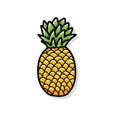 Naklejka ananas doodle