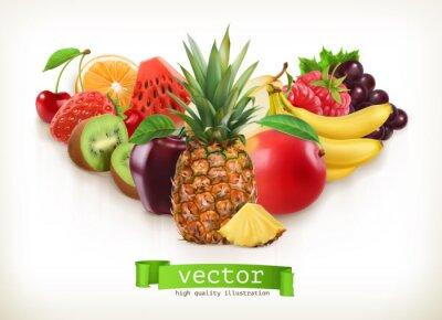 Naklejka Ananas i soczyste owoce, ilustracji wektorowych samodzielnie na białym tle