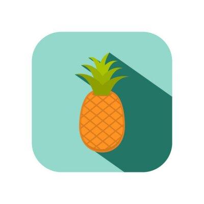 Naklejka ananas owoców z długim cieniem