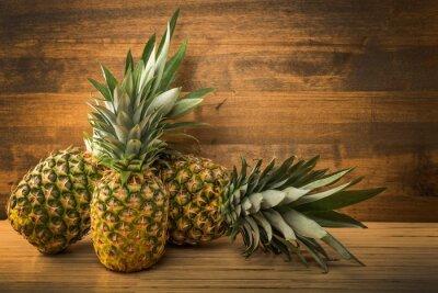 Naklejka Ananas, rynku, liści.