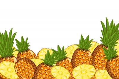 Naklejka Ananas samodzielnie na białym tle. Skład Ananas, rośliny i liście. Jedzenie organiczne. Wektor ananasowy.