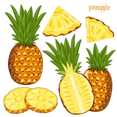 Naklejka Ananas, wektor.