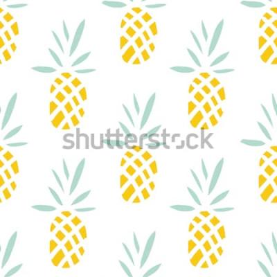 Naklejka Ananasy na białym tle. Wektorowy bezszwowy wzór z tropikalną owoc.